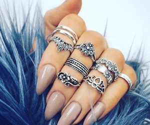 nails beige rings hands image