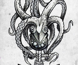 anchor, octopus, and tattoo image