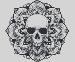 drawing, mandala, and skull image