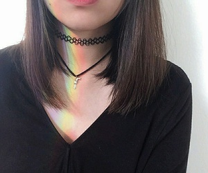 rainbow, black, and choker image
