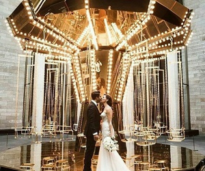 bride and groom, just married, and lights image
