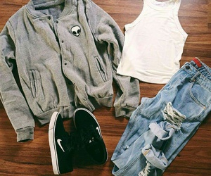 clothes, gray, and shoes image