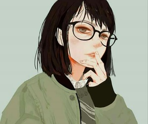 anime girl, glasses, and style image