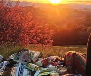 sunset, picnic, and nature image