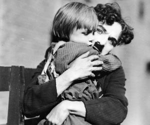 charlie chaplin, black and white, and the kid image