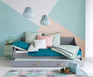 bedroom, light blue, and pink image