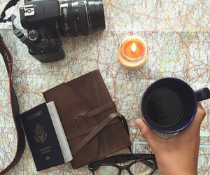 camera, map, and travel image