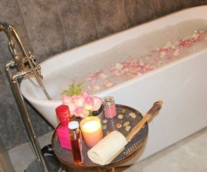 bathroom, candle, and flowers image