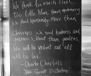 charlie chaplin, the great dictator, and quote image