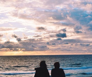 sky, couple, and beach image