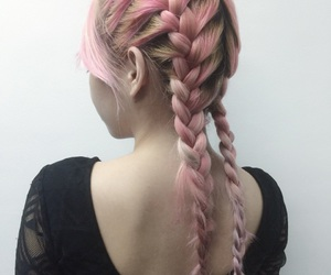 braids, pink, and pink hair image