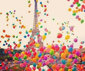 paris, rainbow, and ballons image