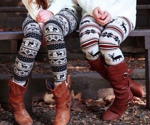 boots, winter, and leggings image
