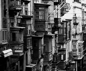 architecture, black and white, and buildings image