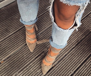 heels, denim, and fashion image