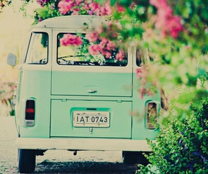 flowers, vintage, and car image