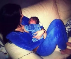 baby, blue, and mom image