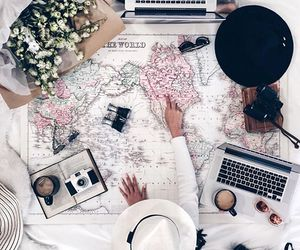 travel, flowers, and map image