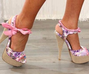 bows, pink bows, and shoes image