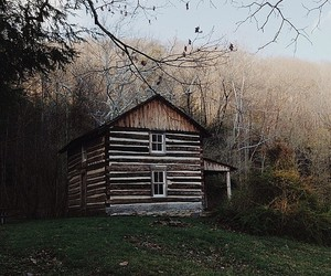 autumn, cabin, and cold image