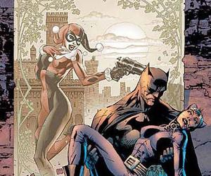 batman, catwoman, and harley quinn image
