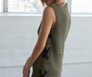 knitted tank, olive green tank, and knitted detail image
