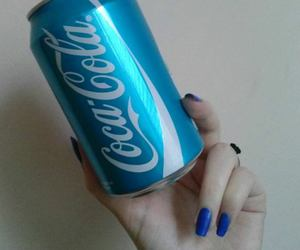 blue, coca cola, and hand image