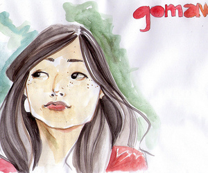 asian girl, illustration, and watercolors image