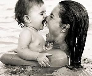 alessandra ambrosio, black and white, and child image