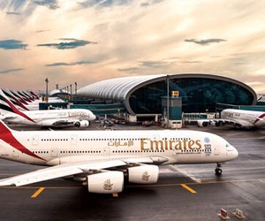 airport, emirates, and planes image