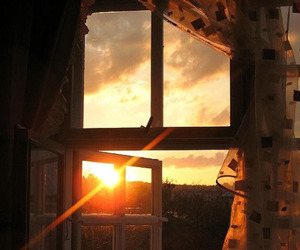 window and sunset image