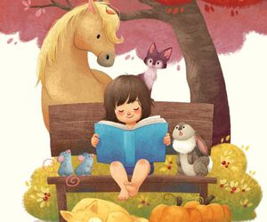 autumn, book, and bunny image