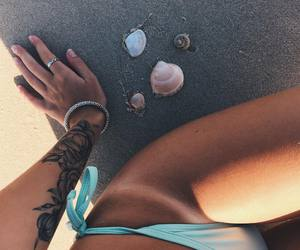 beach, hand, and ring image