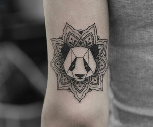 panda, tattoo, and mandala image