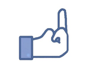 facebook, middle finger, and overlay image