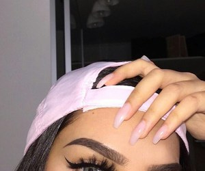 eyebrows, hair, and pink hat image