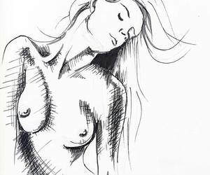 art, draw, and women image