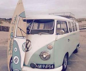 beach, surfboard, and volkswagen image
