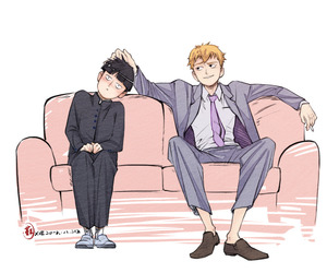 anime, mob psycho 100, and reigen arataka image