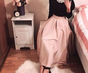 hijab, maxi skirt, and skirt image