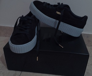 black, blue, and sneakers image