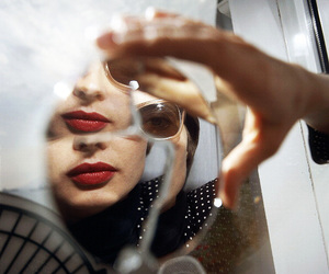 Isabella Rossellini, mirror, and red image
