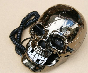 skull, telephone, and cool image