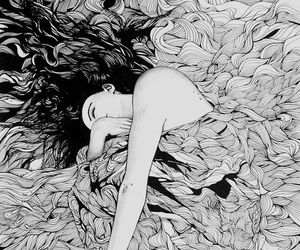 art, girl, and black and white image