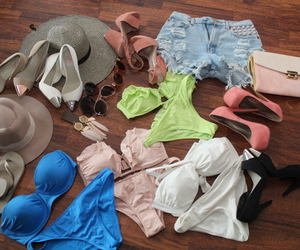 bikinis, brights, and clothes image