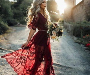 beatiful, red, and dress image