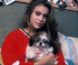 Alyssa Milano and dog image