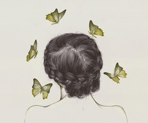 breds, butterflies, and hair image