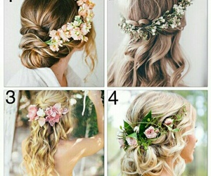 flower, hairstyles, and wedding image