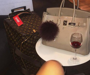 luxury, bag, and wine image